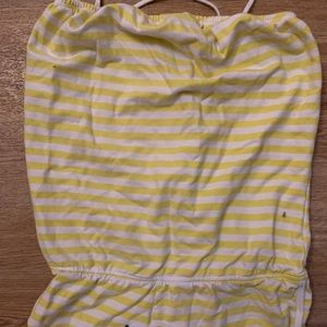 YELLOW AND WHITE STRIPED ROMPER